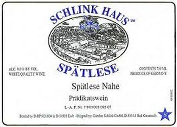 Schlink Haus Riesling Spatlese Nahe 2017