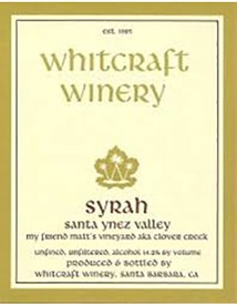 Whitcraft My Friend Matt's Vineyard Syrah 2016 Image
